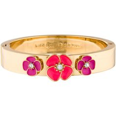 Pre-owned Kate Spade New York Flutter Floral Bangle Bracelet ($45) ❤ liked on Polyvore featuring jewelry, bracelets, hinged bracelet, floral jewelry, magnetic jewelry, magnet jewelry and bangle bracelet