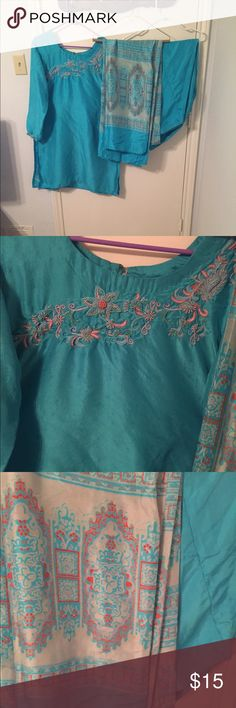 Preowned 3 piece Shalwar Kameez Shirt has beautiful work but has under arm light stain, check last picture.  Because of the shine it is difficult to see if there are any more stains.  For that reason I'm open for any reasonable offer. Other