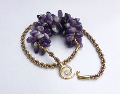 Handmade amethyst kumihimo necklace beaded kumihimo by CHARMATIONS