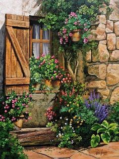 Cozy Corner, Victor Arriola work Pinned here for comparrison to this artist's work as seen on my Stuff to Buy board. Landscape Art, Landscape Paintings, Cottage Art, Pictures To Paint, Beautiful Paintings, Artist At Work, Painting Inspiration, Watercolor Paintings, Cool Art