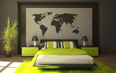 World map Vinyl Wall Decal - 45  Beautiful Wall Decals Ideas  <3 <3