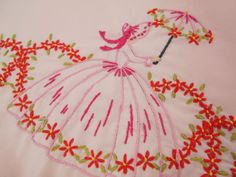 Vintage Antique SOUTHERN BELLE LADY HAND EMBROIDERED Cotton Pillowcase KING size