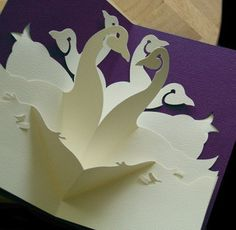 Here is a beautiful Kirigami card made from an Easy Cut Pop-up pattern for a DIY using your desktop top printer and scissors. All parts interlock. No glue needed.
