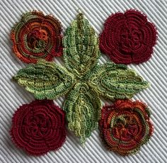 Irish Crochet - these flowers and leaves are TATTED; but beautiful colors.  Can certainly be used as inspiration for Irish Crochet.  I would like to learn how to tat!