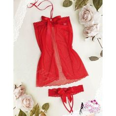 A102 Red  - 2pc : dress, open crotch gstring  Free Size LD 70-86cm, Hips 70-90cm, Bra 32-34    IDR 84.000