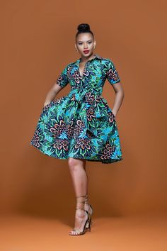 African Print Aster Midi Dress| Grass-Fields| Colourful African print perfect for any night out