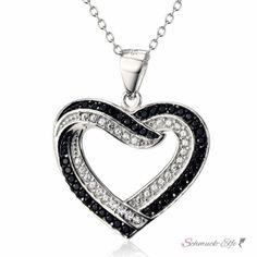 Anhänger Herz BLACK & WHITE aus 925 Silber mit Zirkonias...