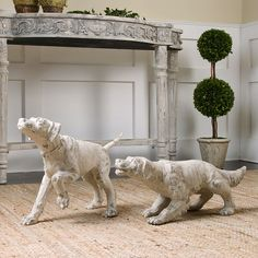 Talk about doggone charming - the Uttermost Hudson and Penny Dog Sculptures - Set of 2 instantly enliven any space. Packaged as a set of two, Hudson. Dog Sculpture, Animal Sculptures, Barn Wood Picture Frames, Brown Dog, Clay Animals, Dogs Of The World, Dog Art, Vignettes, Artwork