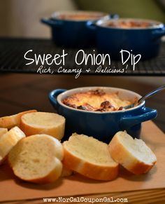 This Sweet Onion Dip recipe is the perfect party pleaser - it's decadent, rich & creamy, and super easy to make. We love it served with toasted rounds of sourdough bread, but it's also awesome with chips and pretzels too! Recipes Appetizers And Snacks, Tailgating Recipes, Appetizer Dips, Dip Recipes, Small Oven, Good Food, Yummy Food, Onion Dip, Football Food