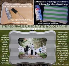 Striped DIY picture Frame-frames available at Hobby Lobby.