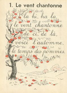 """""""The Wind Sings"""", such a lovely little French song & illustrated lyric page about autumn!"""