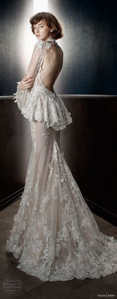 galia lahav spring 2018 bridal long sleeves sheer high neck sweetheart neckline full embellishment peplum victorian vintage sheath wedding dress keyhole back sweep train (tesla) bv -- Galia Lahav Spring 2018 Wedding Dresses