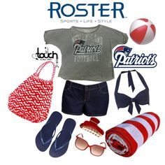 """""""Patriots Beach Babe Touch Outfit"""" by rosterstores on Polyvore Featured Product: @New England Patriots @Touch By Alyssa Milano Grey Crop Top: $35.00 Item Number: 793003-006"""