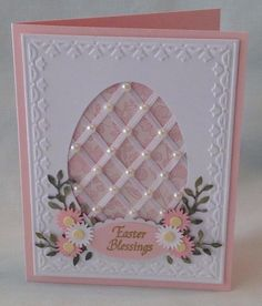handmade Easter card: Lattice work Easter card by cards4joy ... pink and white ... oval window with thin ribbon forming a lattice ... pearls on each crossing ... tulip frame main panel ... gorgeous card!!!