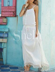 White Spaghetti Strap With Lace Maxi Dress 20.99