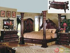 King Cherry Poster Luxury Canopy Bed w/ Leather Headboard Master Bedroom