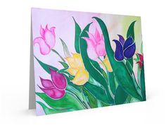 Abstract summer tulips flower painting note by KathyPoitrasArt