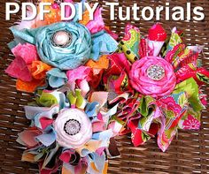 Instant Download - Shabby Chic FABRIC Flowers Tutorial -  Patterns - No Sew Flower Pattern - DIY Fabric Flowers