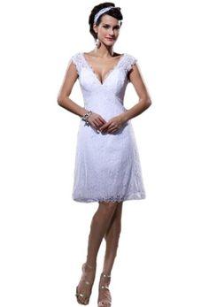Elegant Lace V Neck Satin Knee Length Short Mini Wedding Dresses(2,Ivory) Crystal Dresses http://www.amazon.com/dp/B00JTQV2PI/ref=cm_sw_r_pi_dp_cu8Itb1R5QNVYGAP