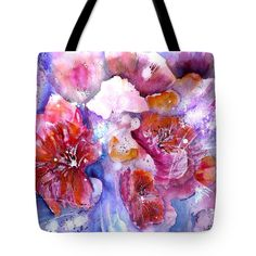 Spring Meadow In Light Tote Bag for Sale by Sabina Von Arx Poppy Flowers, Spring Flowers, Beach Towel Bag, Pink Bathroom Decor, Pink Shower Curtains, Spring Awakening, Pink Tone, Abstract Flowers, Basic Colors
