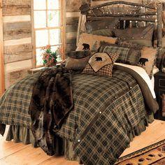 Cabin Homes, Log Homes, Bedroom Furniture, Bedroom Decor, Bedding Decor, Rustic Bedding Sets, Rustic Comforter, Cabin Furniture, Bedding Storage