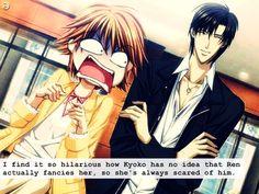 LOL and he always milks it so hard!! hahahaha Oh Ren and Kyouko...my favorite anime/manga couple! Skip Beat!
