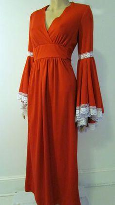 Vtg 1970s Boho Hippie Festival Red Angel Sleeve Christmas Holiday Maxi Dress SM | eBay