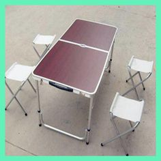 2017 Mueble Wicker Rattan Furniture Folding Outdoor Picnic Light Travel Aluminum Alloy Tables And 4 Chairs