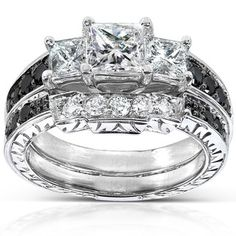 Princess-cut black and white diamond bridal ring set14-karat white gold jewelry ~ http://VIPsAccess.com/luxury-hotels-caribbean.html