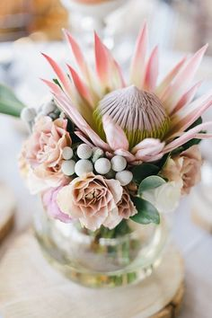 Traditional South African fynbos bouquet made up of Proteas. This makes for a beautiful elopement bouquet! Protea Wedding, Floral Wedding, Wedding Bouquets, Wedding Flowers, Protea Bouquet, Protea Flower, Wedding Centerpieces, Wedding Table, Wedding Decorations