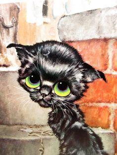 Vintage Gig Pity Kitty Illustration Print  by vintagegoodness, $11.95