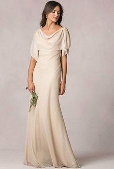"""Brides.com: . """"Devon"""" sheer glitter knit dress with flutter sleeves, $320, Jenny…"""