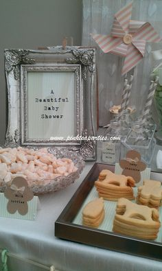 Love the rocking horse cookies on the sweets table at this baby shower!
