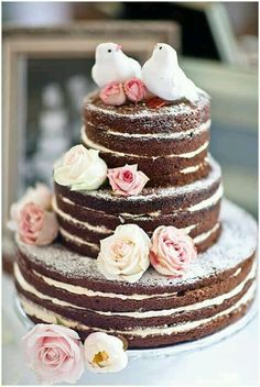 chocolate wedding cake without icing - Google Search