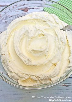 DELICIOUS and easy White Chocolate Buttercream Frosting! So creamy and flavorful! MyCakeSchool.com