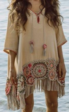 hippie outfits 821555157005732545 - Beach throw over – Source by favoritoonlycheapestcom Estilo Hippie, Boho Hippie, Bohemian Style, Boho Chic, Boho Fashion, Womens Fashion, Fashion Design, Look Boho, Crochet Blouse