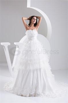 Robe de mariée la plus belle A-ligne en Satin Sans bretelles  http://fr.GracefulDress.com/Robe-de-mariée-la-plus-belle-A-ligne-en-Satin-Sans-bretelles-p20927.html