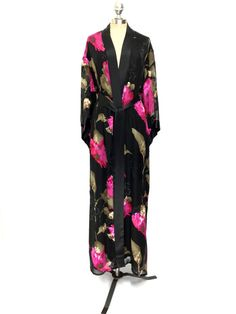 Womens Robe High-end Flower Printing Belt Loose Silk Full Length Dress Coats Top