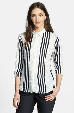 Theory 'Aquilina B.' Stripe Silk Shirt available at #Nordstrom