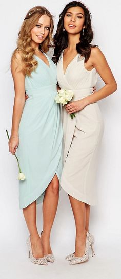 TFNC WEDDING Wrap Embellished Midi Dress