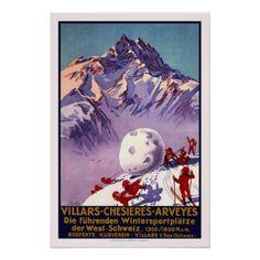 #Vintage Switzerland Travel Ski Poster - #travel #trip #journey #tour #voyage #vacationtrip #vaction #traveling #travelling #gifts #giftideas #idea