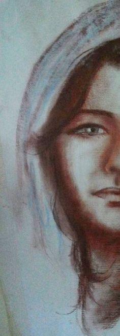"""BUONA FESTA DELL'ASSUNTA o, semplicemente, BUON FERRAGOSTO! Sanguigna su carta preparata, 1987 - Daniela Montanari """"Nel cielo apparve poi un segno grandioso: una donna vestita di sole..."""" (Apoc.)"""