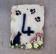 House numbers, house number plaque, black cat door plaque, door number, - pinned by pin4etsy.com