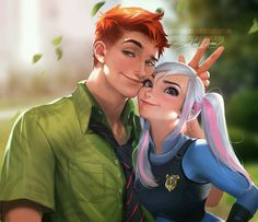 Personification of Judy Hopps and Nick Wilde from *Zootopia* by Sakimichan Disney Fan Art, Disney Pixar, Disney E Dreamworks, Disney Ships, Disney Memes, Disney Cartoons, Humanized Disney, Walt Disney, Zootopia Nick E Judy