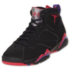 nike air jordan 7 shoes black\/red raptors