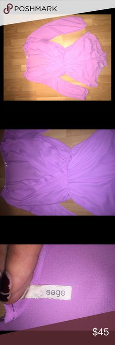 Purple long sleeve romper: M Low cut, long sleeve, short purple romper. Very flattering on bodies of any size. It is made of sheer material with an inner liner so that it is not transplant. Beautiful! Sadie & Sage Other