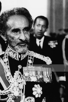 Emperor Haile Selassie of Ethiopia wearing military uniform during a visit to…