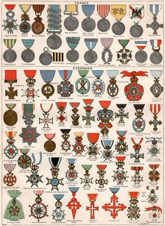 1897 french military decoration antique print by craftissimo - Military Decorations