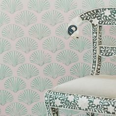 Regularly used in garden design and shell grottos, these pretty scallop shells bring touch of British beach-combing nostalgia to your walls. Available in red on cream ground, or green shells on a soft plaster ground. British Beaches, Green Wallpaper, Beautiful Wallpaper, Scallop Shells, Pink Tone, Pattern Fashion, True Colors, Wall Design, Pink And Green