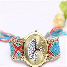 HOT Sell New Brand Handmade Braided tree Friendship Bracelet Watch GENEVA Watches Women Quarzt Watches relogio feminino